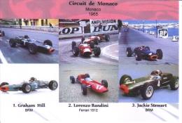 Grand Prix De Monaco 1965 -  Graham Hill (BRM) - Lorenzo Bandini (Ferrari) - Jackie Stewart (BRM) -  Carte Postale - Grand Prix / F1