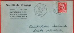 Wittisheim 23.4.1949  Bas-Rhin Entête:  Société De Dragage Sable Gravier - Marcophilie (Lettres)