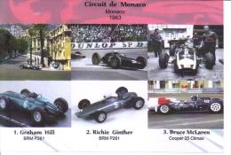 Grand Prix De Monaco 1963 -  Graham Hill (BRM) - Richie Ginther (BRM) - Bruce McLaren (Cooper) -  Carte Postale - Grand Prix / F1