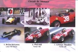 Grand Prix De Monaco 1962 -  Bruce McLaren (Lotus) - Phil Hill (Ferrari) - Lorenzo Bandini (Ferrari) -  Carte Postale - Grand Prix / F1