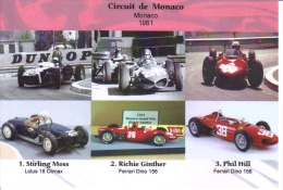 Grand Prix De Monaco 1961 -  Stirling Moss (Lotus) - Richie Ginther (Ferrari) -  Phil Hill (Ferrari) -  Carte Postale - Grand Prix / F1