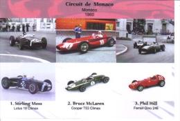 Grand Prix De Monaco 1960 -  Stirling Moss (Lotus) - Bruce McLaren (Cooper) -  Phil Hill (Ferrari) -  Carte Postale - Grand Prix / F1