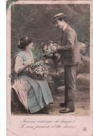 Carte Postale Ancienne - Fantaisie - Couple - Fleurs - Couples