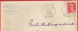 Wittisheim 21.7.1949   Bas-Rhin Entête: Paul Fahrner Tailleur - Marcophilie (Lettres)
