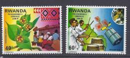RWANDA 1979 - Satelite Intelsat, Musiciens, Philexafrique - 2 val Neuf // Mnh