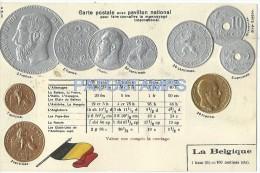 8156 BELGIUM BELGIQUE ART ARTE EMBOSSED FLAG AND COIN  FRANC CENTIMES POSTAL POSTCARD - Ohne Zuordnung