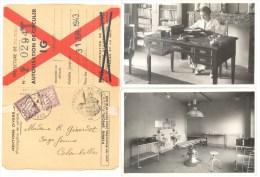 Cartes Photos - Mme Girardot R. (mère D'Annie Girardot) Sage-Femme - Bureau & Salle De Travail - Carte 1943 Autorisation - France
