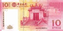 MACAU  (BANCO DE CHINA)   10  PATACAS    2008  (2009)  SC/UNC/PLANCHA      DL-6771 - Billets