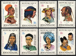 RWANDA 1973 - Coiffes Africaines, Surchargés Quinzaine Africaine - 8 Val Neuf // Mnh - Rwanda