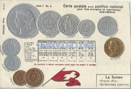 8171 SWITZERLAND LA SUISSE ART ARTE EMBOSSED FLAG AND COIN RANC CENTIMES POSTAL POSTCARD - Non Classificati