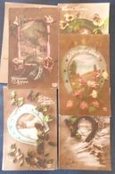 Lot 7x Photo Montage Fantaisie Voeux Porte Bonheur Theme Fer A Cheval Et Decor Litho Paysage  Toutes Ecrite +- 1915 - Fantaisies