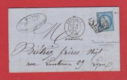 Lettre   //  De Grenoble //  Pour Lyon  // 4 Juin 1873 // - Poststempel (Briefe)