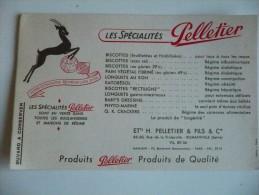 BUVARD Les SPECIALITES PELLETIER. Années 50. Très Bon Etat. SANTE REGIME Biscottes, Longuets, Crackers, Etc. - Biscottes