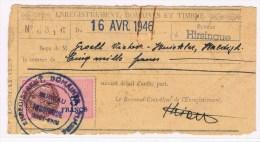 A3. Haut-Rhin. Fiscaux. 3f. Enregistrement Hirsingue  + 16 AVRIL 1946
