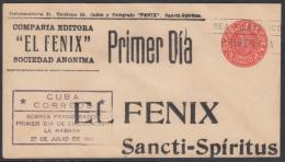 1949-EP-38. CUBA REPUBLICA. 1949. M. CORONA. 2c. Ed.94. SOBRE PRIMER DIA DE LA SOC EL FENIX. IMPRESO PRIVADO. RARO - Cuba