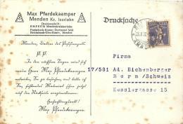 "Forwarded Karte   ""Pferdekaemper, Menden""  Ambulant - Bern              1927 - Briefe U. Dokumente"