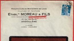 Angoulème 1948  Entête: Manufacture De Bonneterie De Laine Établ. Moreau & Fils - Marcophilie (Lettres)