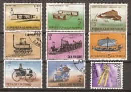 SAINT  MARIN   .    L O T .     AVIONS  /  TRAINS  /  BATEAUX  /  VOITURES. - Collections, Lots & Séries