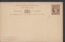 Seychelles Postal Card 1890/1893 Eight Cents Vintage Rare Card - Seychelles (1976-...)