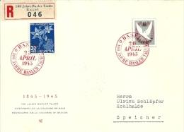 SUISSE - L. Rec. De BASEL (100 Jahre Basler Taube) Du 20 AVRIL 1945 à SPEICHER - Lettres & Documents