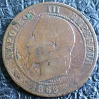 NAPOLEON III 1865 BB 10 CENTIMES STRASBOURG A VOIR !!! - D. 10 Centimes