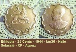 Ethiopia - 25 Cents - 1944 - Km36 - Hailè Selassiè - XF - Agouz - Ethiopie