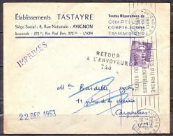 """Omec  R.B.V.de AVIGNON R.P. Le 17 12 1953 """" COTES DU RHONE... """"  Envel PUB  Avec RETOUR A L ENVOYEUR Le 22 DEC 1953 - Marcophilie (Lettres)"""