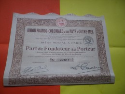 UNION FRANCO COLONIALE Et Des PAYS D´OUTRE MER (fondateur) 1926 - Shareholdings