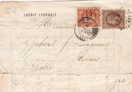 1871 DEVANT DE LETTRE CRÉDIT LYONNAIS.  AFFRANCHISSEMENT 3è ÉCHELON 0.70F. N°31 + N°30. / 623 - 1849-1876: Période Classique