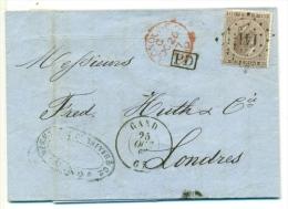 N° 19 / LAC GAND L 141-LONDRES. 1867. Angleterre Par Ouest. - 1865-1866 Profil Gauche