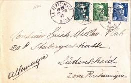 14366# GANDON LETTRE Obl LA FERTE MACE ORNE 1947 Pour LÜDENSCHEID ZONE BRITANNIQUE ALLEMAGNE - Postmark Collection (Covers)