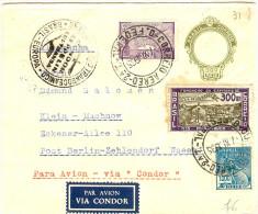 BR38Z- BRESIL ENVELOPPE ENTIER POSTAL 300R AVEC COMPL.TS PAR AVION A DESINATION DE BERLIN 1/11/1935 - Entiers Postaux