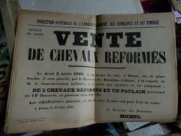 affiche vente de chevaux reformes 1903 DINAN bretagne du 13 e hussard