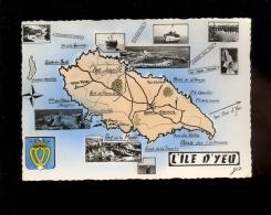 ILE D'YEU Vendée 85 : Carte Géographique De L'ile Multivues Port De La Meule Bateau Pointe Du Chatelet Joinville - Ile D'Yeu