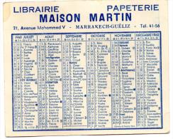 Petite Carte Calendrier 1960 Marrakech - Calendari