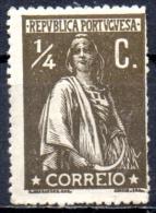 PORTUGAL 1912 Ceres -1/4c. - Brown MH - 1910-... Republic