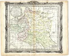 ETATS DE POLOGNE ET DE LITHUANIE CARTE GEOGRAPHIQUE XVIII° DE BRION GRAVEE CUIVRE REHAUSSEE DE TOUCHES A L AQUARELLE - Geographical Maps