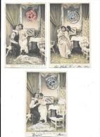 7541 - Lot De 4 CPA Fantaisie, Couples, Femme Déshabillée, - Donne