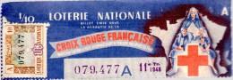 Billet De Loterie 1948  (usure Courante) Plié CROIX ROUGE FRANCAISE - Lotterielose