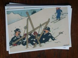 TINTIN Reproduction  CARTE POSTAL  DUPONT/D DANS LA NEIGE  HERGE - Tintin
