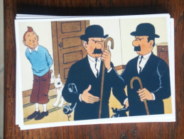 TINTIN Reproduction  CARTE POSTALE TINTIN ET LES DEUX DUPONT/D AU TELEPHONE  HERGE - Tintin