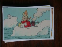 TINTIN Reproduction  CARTE POSTALE TINTIN SE CHAUFFE SUR LA BANQUISE  HERGE - Tintin