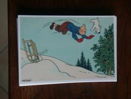 TINTIN Reproduction  CARTE POSTALE TINTIN ET MILOU CHUTENT EN LUGE  HERGE - Tintin