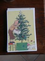 TINTIN Reproduction  CARTE POSTALE TINTIN DECORE LE SAPIN  HERGE - Tintin