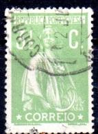 PORTUGAL 1912 Ceres  -  31/2c. - Green  FU - 1910-... Republic