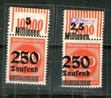 7478 Deutschland Deutsches Reich Mi 296 OR 1/11/1 Postfrisch, 2/9/2 Falz Im Oberrand - Deutschland