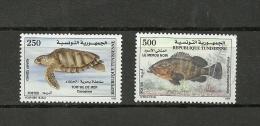1999-Tunisia-Tunisie/ Sea Turtles And Groupers -La Tortue De Mer Et Le Mérou /Complete Set -2 Timbres MNH*** - Fishes