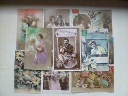 Lot 10x PHOTO LITHO MONTAGE SURREALISME Femme Couple  ET OEUF Oeufs POUR Paques Voyagé VOIR PHOTO Timbre - Phantasie