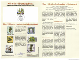 Germany 1998 Mi. 1999 FDC Art Card, Hops Plant, Hopfenanbau, Beer Ingredient, Bier Bière