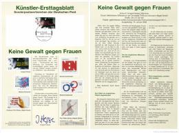 Germany 2000 Mi. 2093 FDC Art Card, No Violence Against Women, Keine Gewalt Gegen Frauen - [7] Repubblica Federale